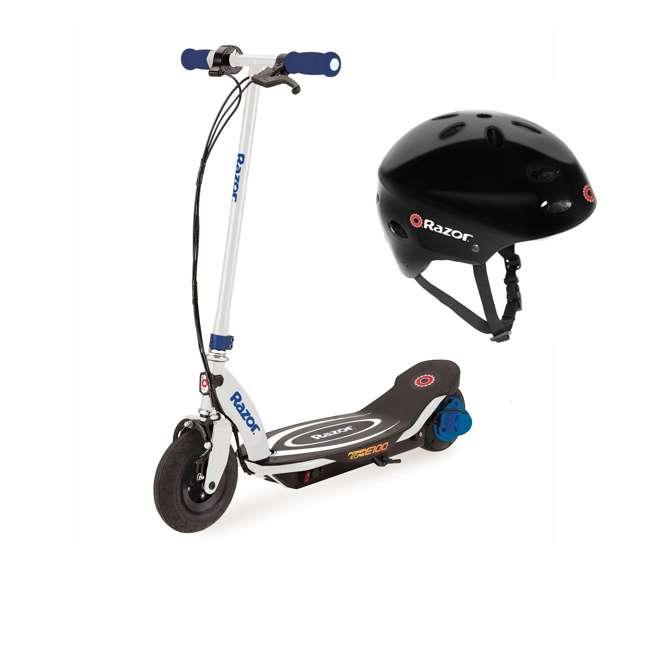 13111210 + 97780 Razor Power Core E100 Electric Scooter, Blue + Razor V17 Childrens Helmet, Glossy Black