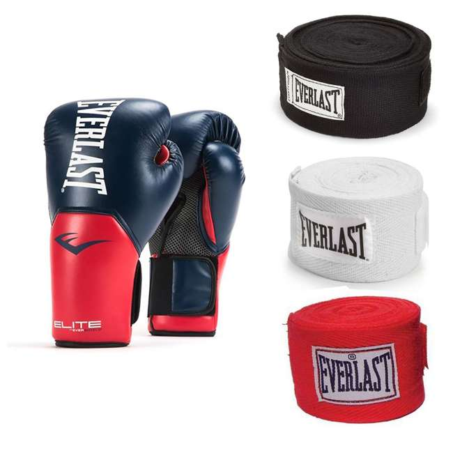 P00001203 + 4455-3 Everlast 14 Ounce Boxing Gloves, Navy/Red & Hand Wraps (3 Pack)