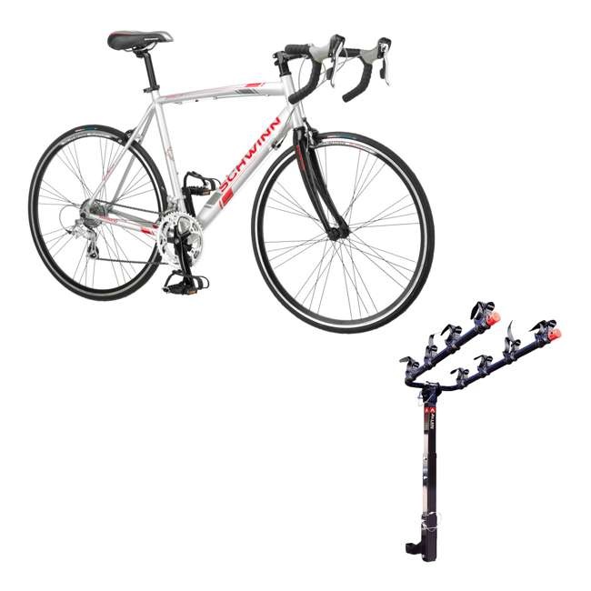 S5491 + 542RR-R Schwinn 700C Phocus 1600 Womens Drop Bar Road Bicycle & 4 Bike Car Bumper Rack