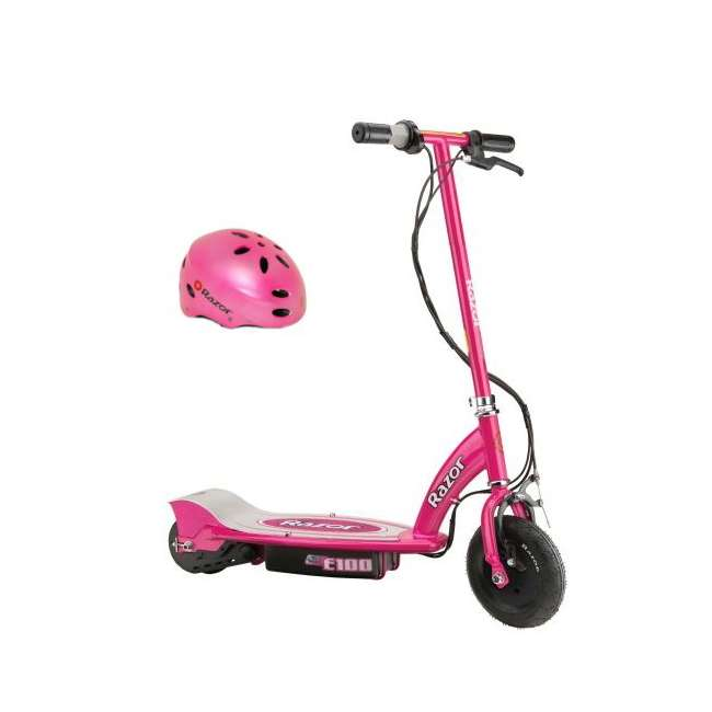 13111261 + 97783 Razor E100 24 Volt Motorized Electric Scooter, Pink and Safety Helmet, Pink