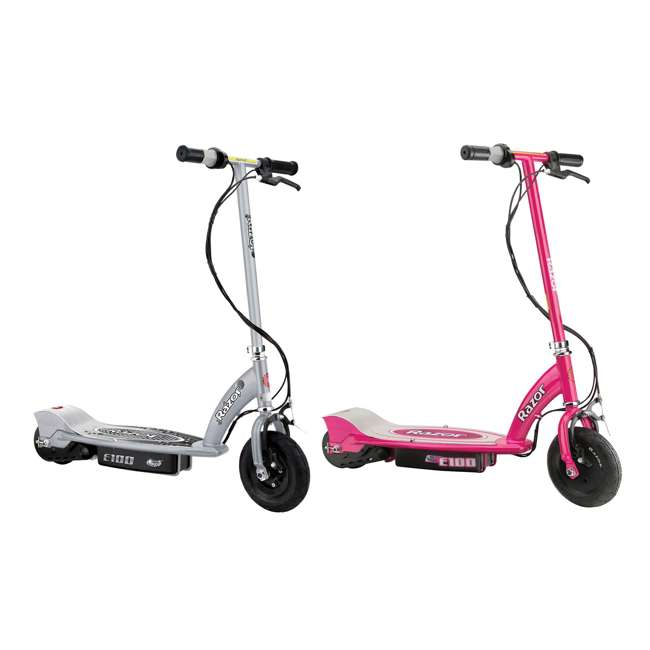 13181112 + 13111261 Razor E100 24 Volt Electric Powered Ride On Scooter, Silver & Pink (2 Scooters)