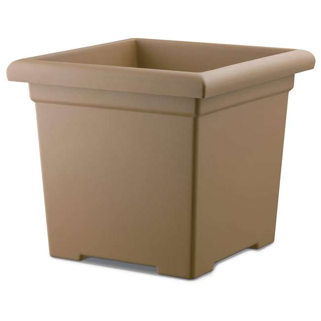 ROS15500A34 Akro-Mils ROS15500A34 15.5-Inch Outdoor Square Accent Planter, Sandstone Brown