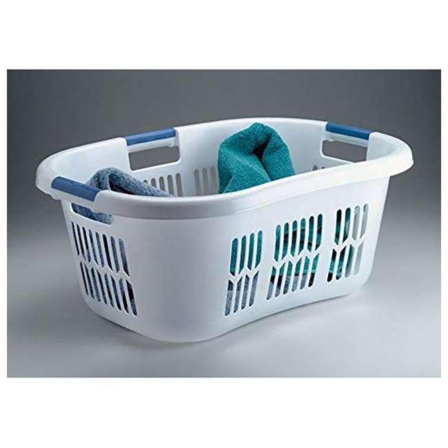 FG299587WHTRB Rubbermaid 2.1-Bushel Small Hip-Hugger Plastic Laundry Basket, White (2-Pack) 2