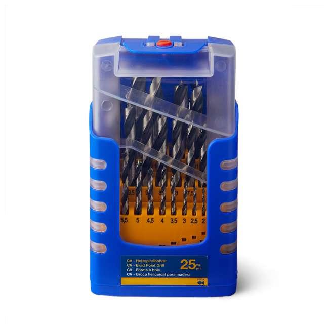 FSF-364740 Fisch 25 Piece Chrome Vanadium Steel Brad Point Drill Bit Set for Woodworking 1