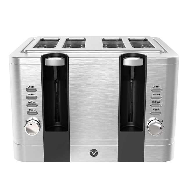 VRM010108N Vremi VRM010108N Retro Stainless Steel Countertop Wide Slot 4 Slice Toaster
