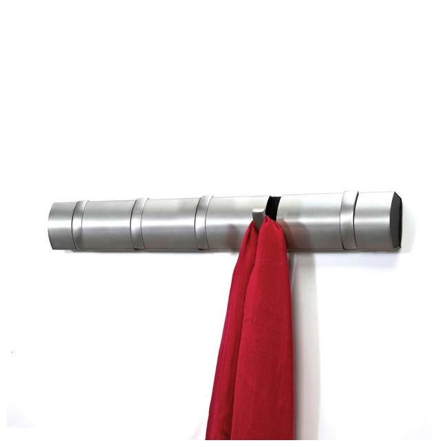 318852-410 Umbra Flip 5 Fold-Away Hook Wall-Mounted Coat Rack, Nickel 2