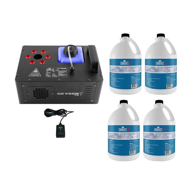 GEYSER-T6 + 4 x FJU Chauvet DJ Geyser T6 Fog Machine and Light Effect with 4 Gallons Fog Fluid