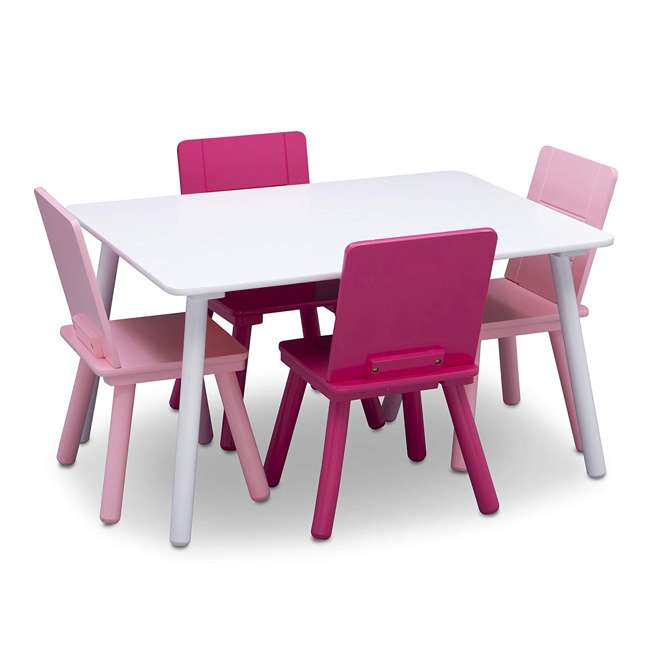 TT87413GN-130 Delta Children Kids Wooden Play Activity Table and 4 Chair Set, White & Pink 3