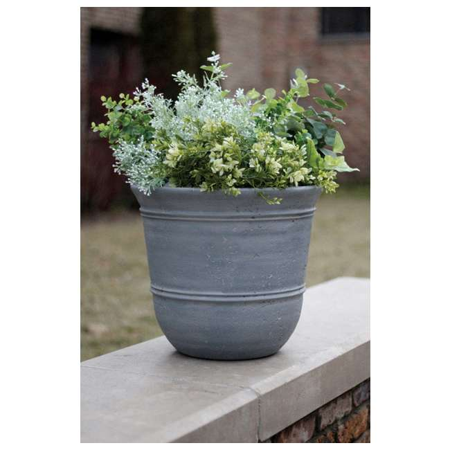 1624GP4-Suncast-Planter uncast 1624GP4 Faux Concrete Planter, Resin, Grey (New Without Box)