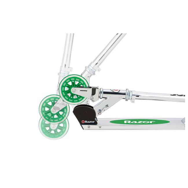 13014360 + 13014330 Razor A3 Aluminum Portable Kids Kick Scooter w Wheelie Bar, Red & Green (2 Pack) 11