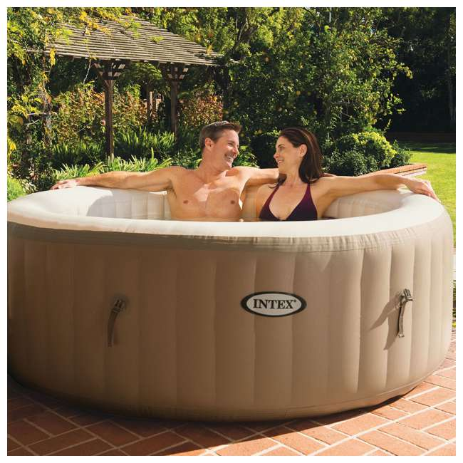 28403E + 28501E Intex Pure Spa Inflatable 4-Person Hot Tub with Headrest 1