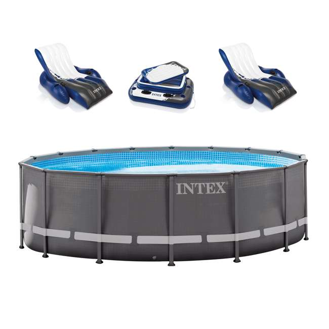 26321EH + 2 x 58868EP + 58821EP Intex 16' x 48-Inch Ultra Frame Swimming Pool Set with 1500 Gph Krystal Clear Pump (Pair)