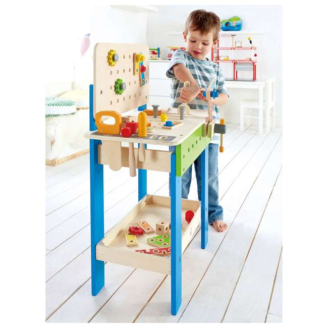 E3000 Hape Wooden Child Master Tool and Workbench Toy Builder Set (For Parts) 2