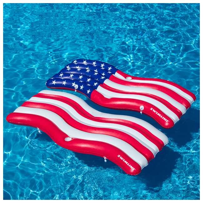 4 x SL-90346-U-A Swimline American Flag Inflatable Swimming Pool Mattress Set (Open Box) (4 Pack) 2