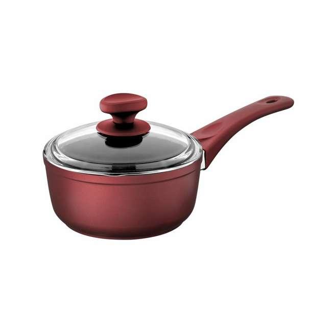SFSAUCE2TRED Saflon 2 Quart Nonstick Quart Titanium Coated Aluminum Sauce Pan with Lid, Red