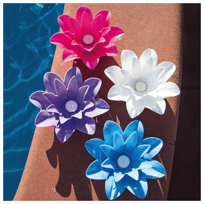 54513-U-B Poolmaster 9.75 Inch Floating Lotus Blooms Flower Pool Lights (4 Pack) (Used) 2