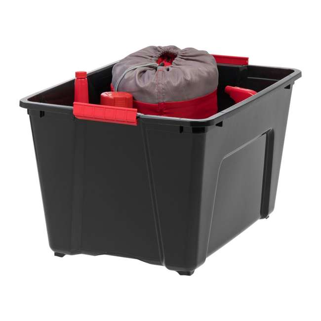 588339 IRIS 53 Qt Stack & Pull Storage Lidded Container Box Bin System, Black (6 Count) 2