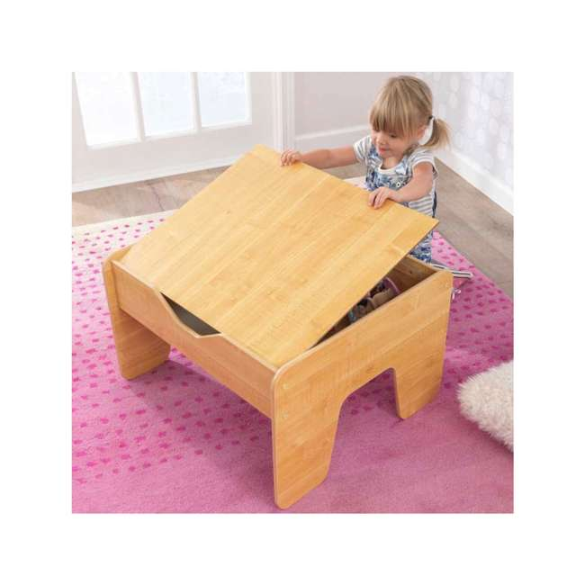 17506 KidKraft 2-in-1 Activity Play Table with Plastic Building Block Board, Natural 2