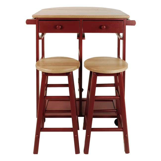 355-29 Casual Home Drop Leaf Hardwood Mobile Breakfast Cart with 2 Wooden Stools, Red 3