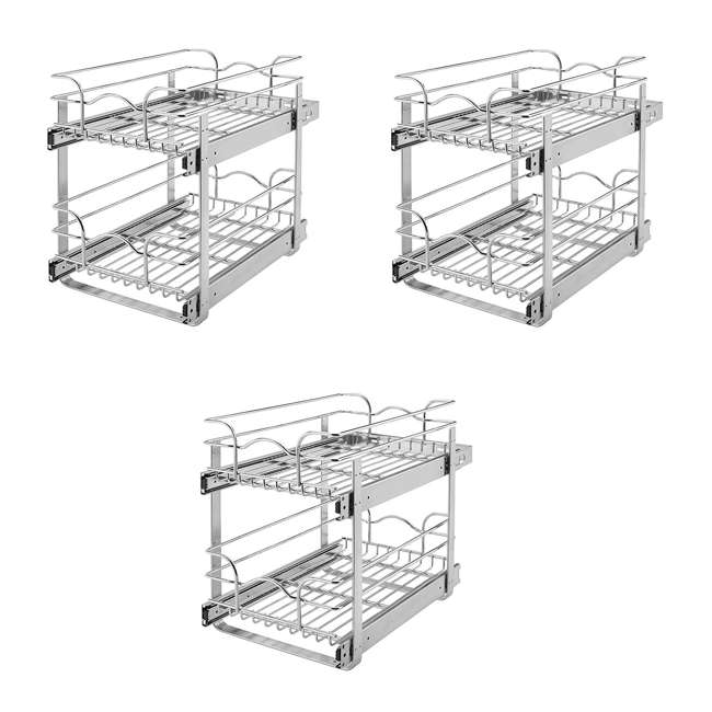 3 x 5WB2-2122-CR Rev-A-Shelf 5WB 2 Tier 21 Inch Wire Basket Pull Out Cabinet Organizer (3 Pack)