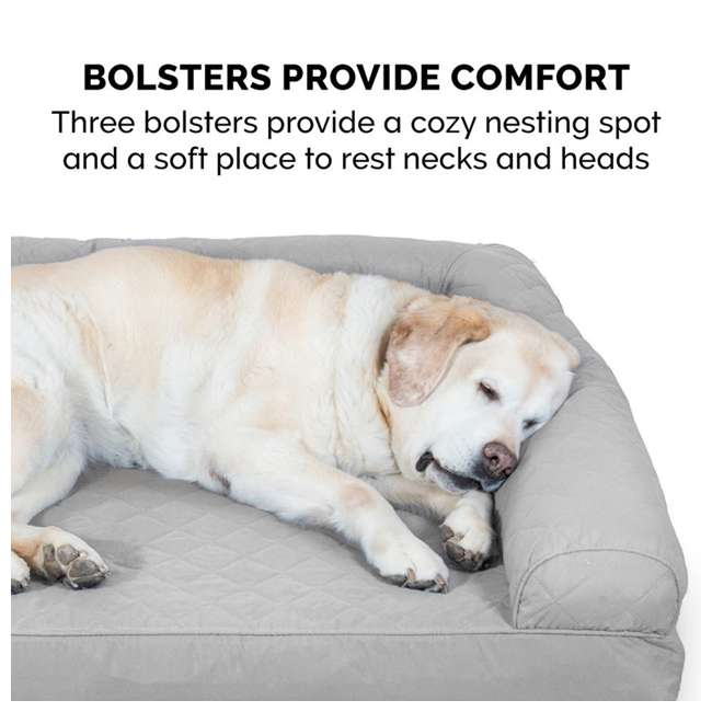 84541087BX Furhaven Cooling Gel Memory Foam Sofa Style Couch Dog Bed, Silver Gray, Jumbo 5