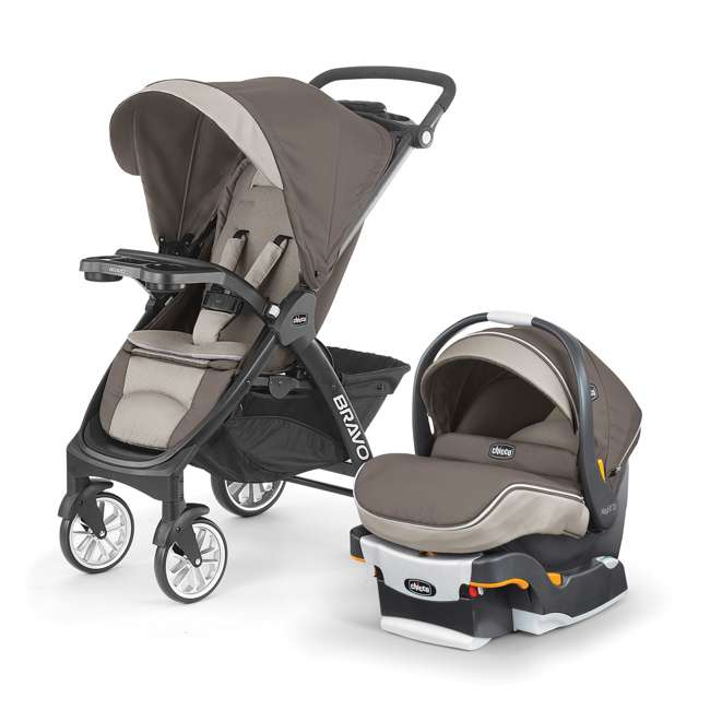 CHI-0507922496 Chicco Bravo LE Trio Travel System w/ KeyFit 30 Zip Infant Car Seat, Latte Brown