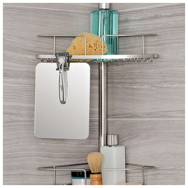 13406 Better Living Fineline 4-Tier Stainless Steel Shower Storage Caddy with Mirror 4