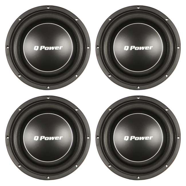 4 x QPF10-FLAT Q Power Deluxe 10 Inch 1000 Watt Flat Subwoofer (4 Pack)