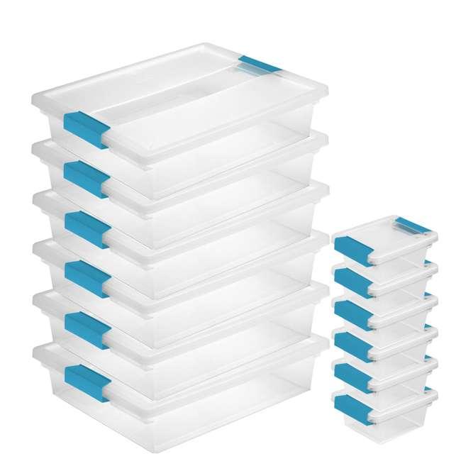 6 x 19638606 + 6 x 19698606 Sterilite Plastic Large Clip Clear Tote (6 Pack) & Mini Clip Storage Box (6 Pack)