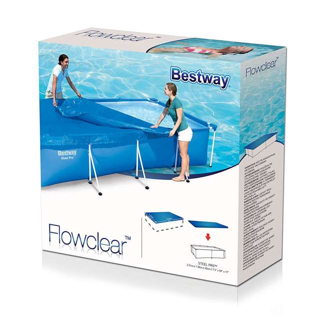 "58103-BW-NEW Bestway Flowclear 7'4"" x 60"" Floating Above Ground Swimming Pool Cover 2"