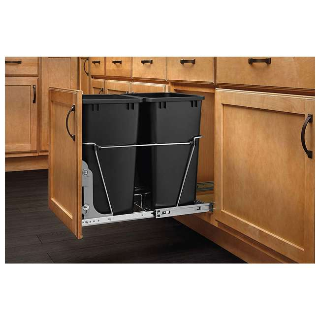 RV-18KD-18C S-30 Rev A Shelf RV-18KD-18C S Double 35 Quart Pull Out Waste Bin Container, Chrome 2
