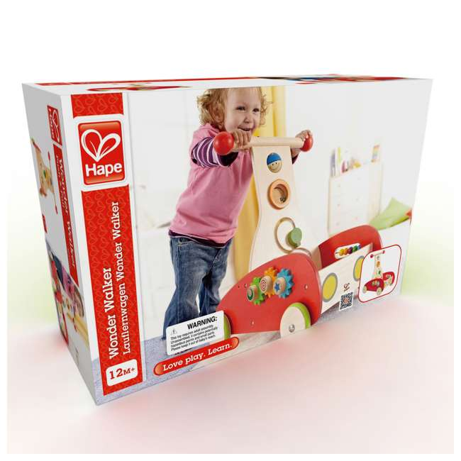 HAP-E0370-U-A Hape Toys Toddler Baby Push & Pull Toy Wonder Walker Cart with Wooden Blocks (Open Box) 5