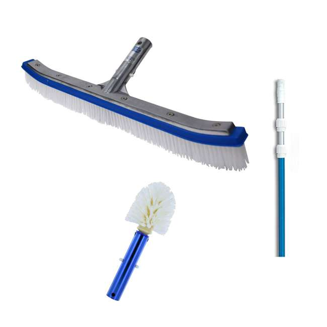 B3518 + 8358M + B3525 Blue Devil 18 Inch Pool Brush + 7 to 21 Foot Pole + Corner and Step Brush