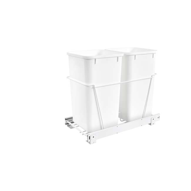 RV-15PB-2 S-24 Rev-A-Shelf RV-15PB-2 S Double 27 Quart Pull-Out Kitchen Waste Containers, White