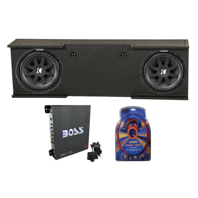 B-GMC12-20074DR + 2 x43C124+R1100M +4GAMPKIT-SFLEX Kicker 43C124 12-Inch 600W Subs with Gmc Chevy 07-13 Crew Enclosure with Amp with Wiring (Pair)