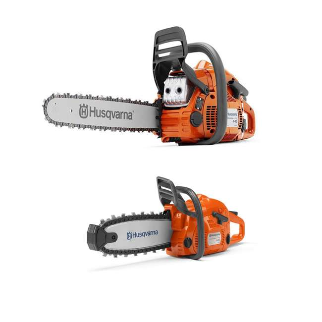 HV-CS-967651001 + HV-TOY-522771104 Husqvarna 445E 16-Inch Gas Powered Chainsaw and 440 Toy Kids Chainsaw, Orange