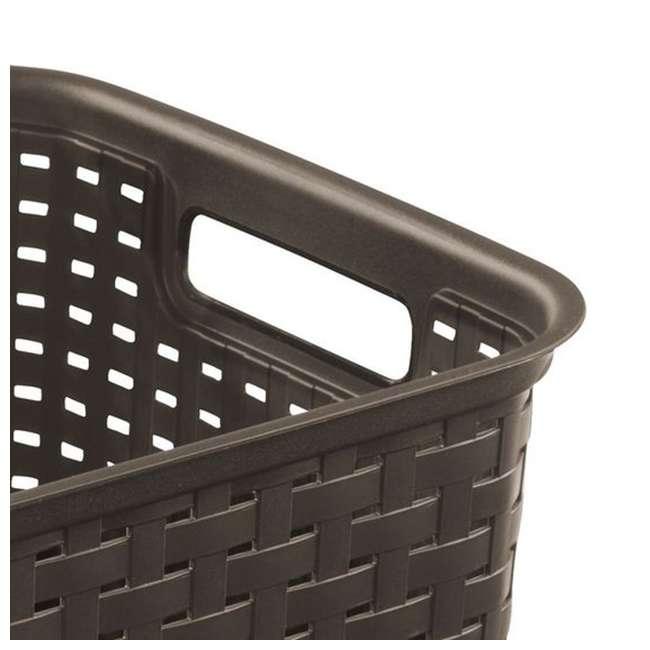 6 x 12736P06-U-A Sterilite Tall Wicker Weave Plastic Laundry Basket, Brown (Open Box) (6 Pack) 3