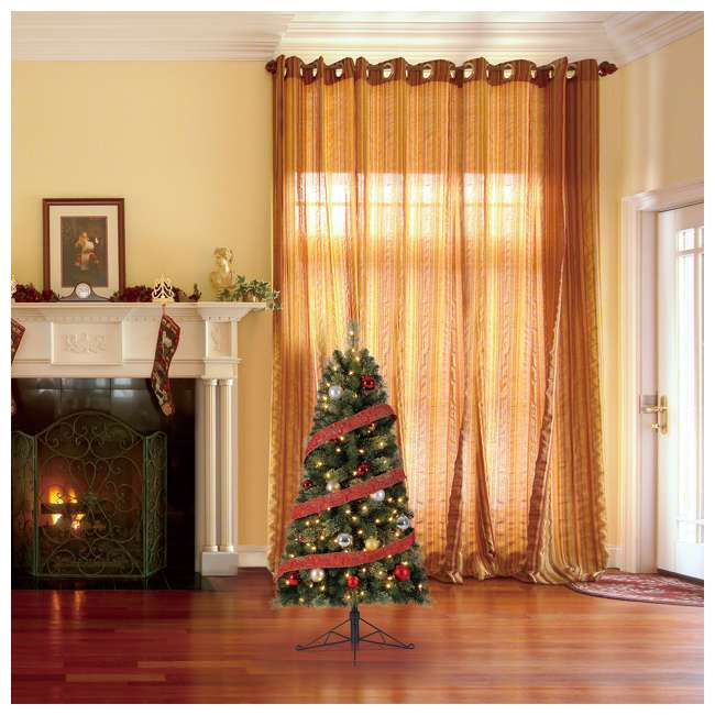 TG50M2AKML00 Home Heritage Cashmere 5 Foot Artificial Christmas Half Tree with LED Lights 3