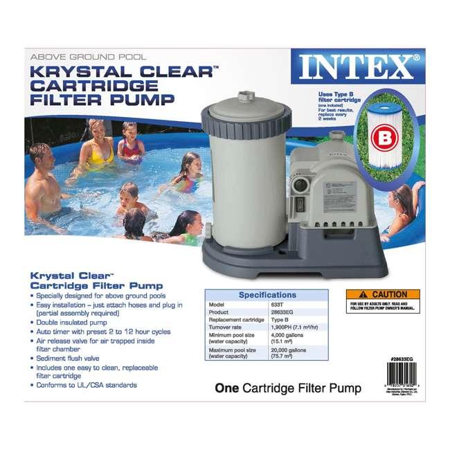 28633EG + 28000E Intex 2500 GPH Swimming Pool Filter Pump and Wall Mounted Surface Skimmer 7