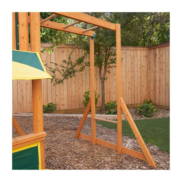 KDK-F23210C Kidkraft Brightside Wooden Cedar Discovery Swing Set/ Playset with Climbing Wall 6