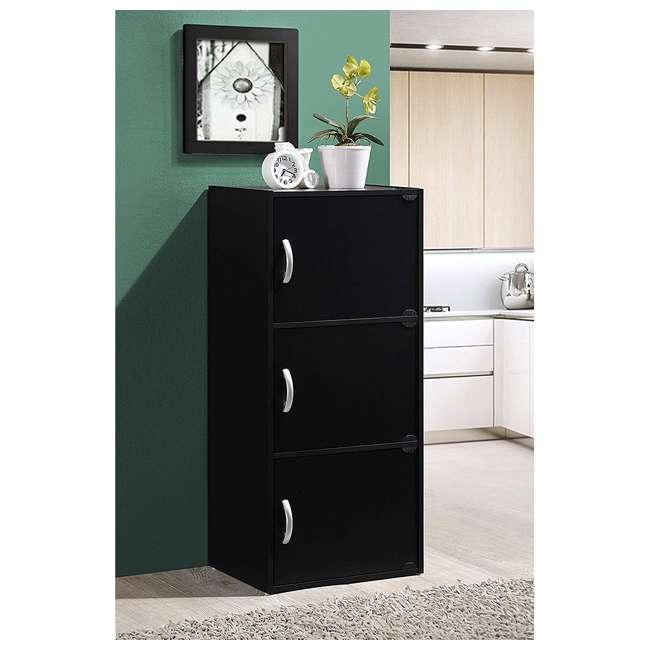 HID3 BLACK Hodedah 3 Door Enclosed Multipurpose Storage Cabinet for Home or Office, Black 1