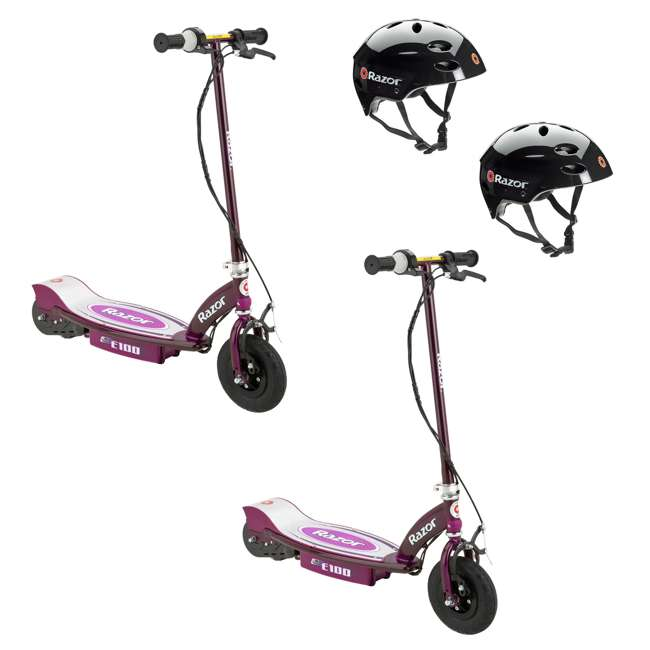 13111250 + 2 x 97778 Razor E100 Electric Scooters, Purple (2 Pack) + Helmets