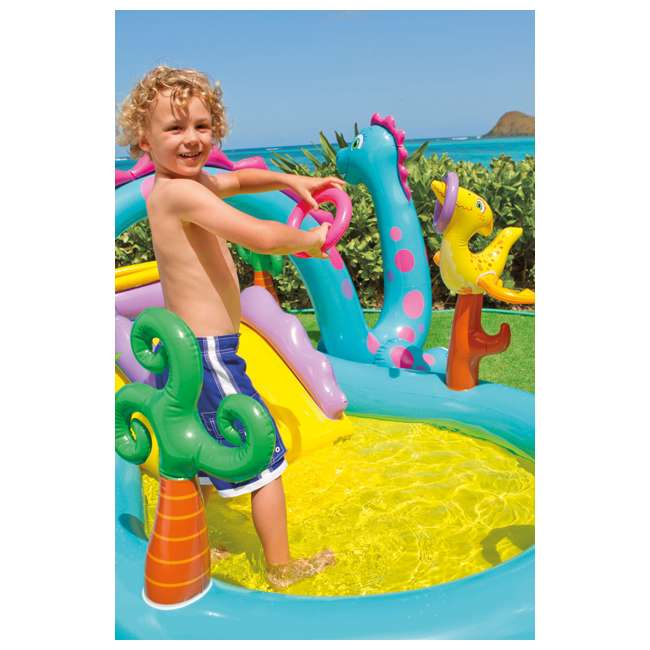 57135EP Intex Dinoland Play Center Kiddie Inflatable Slide Swimming Pool & Games (Used) 4