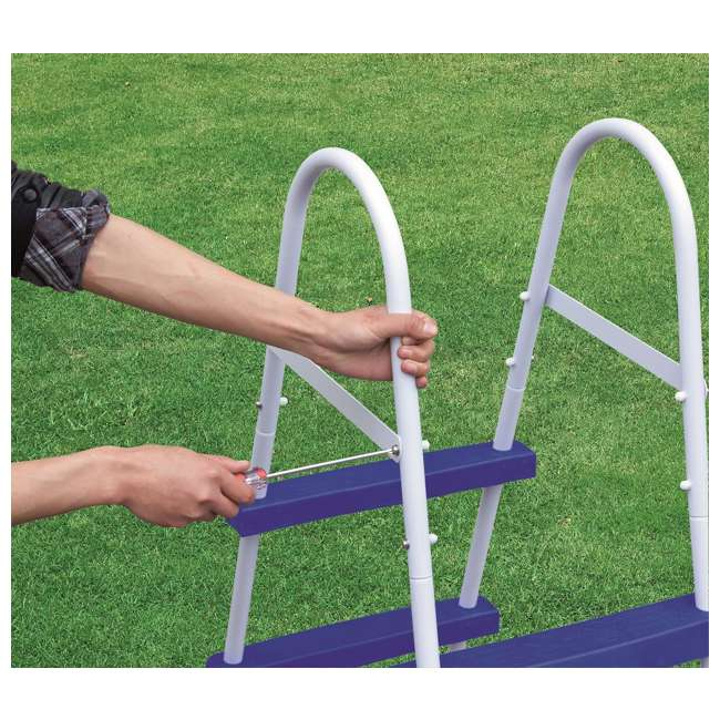 "58337E-BW-U-A Bestway 52"" Steel Above Ground Swimming Pool Ladder No-Slip Steps (Open Box) 1"