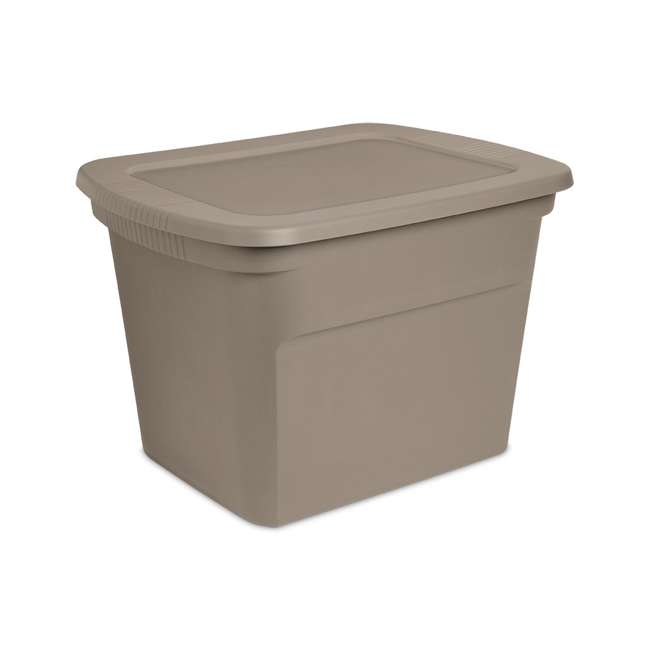 8 x 17316508 Sterilite 18 Gallon Heavy Duty Storage Tote, Taupe (8 Pack) 1
