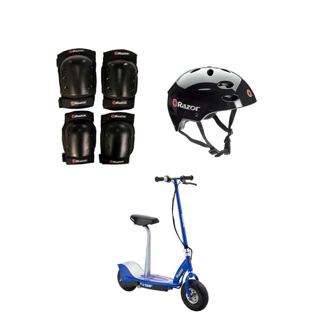 96785 + 2 x 97778 + 2 x 13116240 Razor Youth Elbow/Knee Pads (2 Pack) + Helmet (2 Pack) + E300S Scooter (2 Pack)