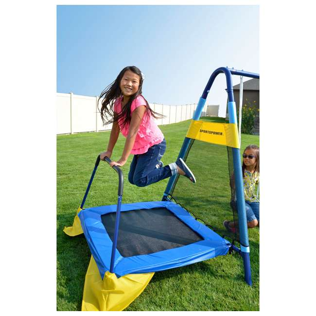 MSC-3242-BM Almansor Metal Outdoor Swing Set with Trampoline 6