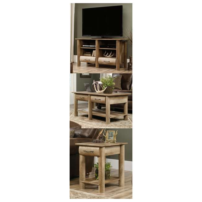 Sauder boone mountain oak living room set tv stand for Living room table sets with tv stand