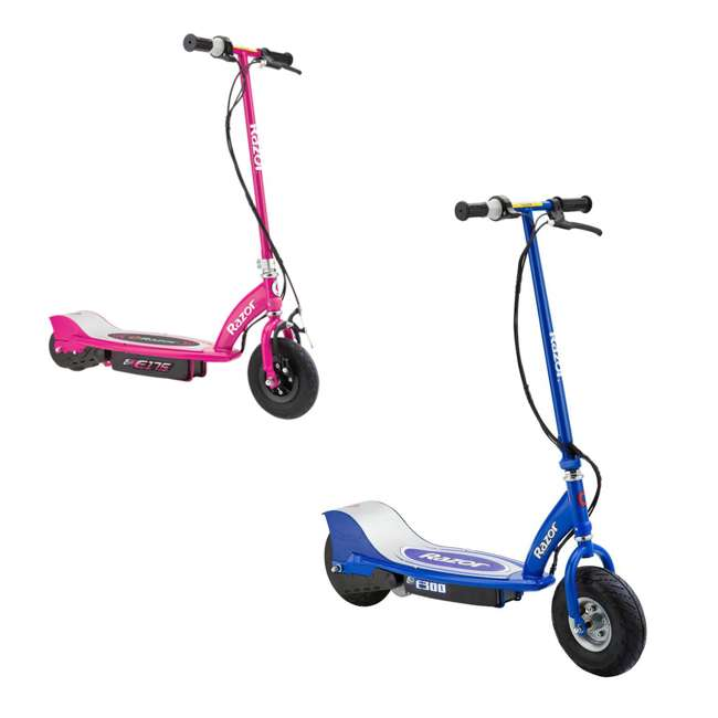 13113640 + 13111269 Razor Electric Motorized Scooters, 1 Blue & 1 Pink