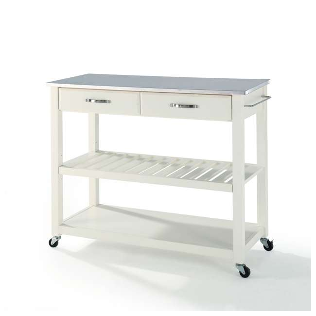 KF30052WH Crosley Stainless Steel Top Kitchen Cart with Drawers, White 1